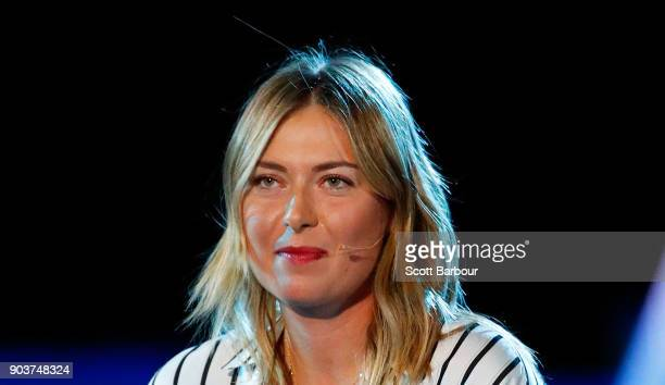 Maria Sharapova of Russia speaks during the 2018 Australian Open Official Draw at Melbourne Park on January 11 2018 in Melbourne Australia