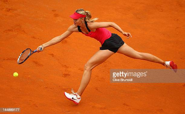 Maria Sharapova of Russia stretches for a forehand against Na Li of China during their final match during day nine of the Internazionali BNL d'Italia...
