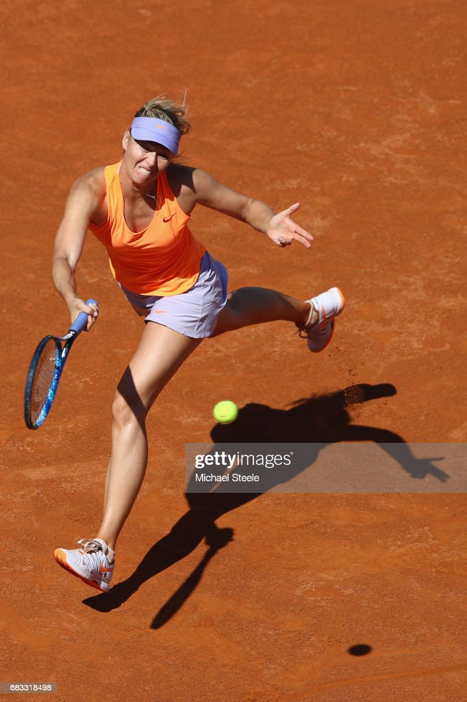 Maria Sharapova of Russia stretches for a return during her second round match against Christina McHale of USA on Day Two of The Internazionali BNL d'Italia 2017 at the Foro Italico on May 15, 2017 in Rome, Italy.