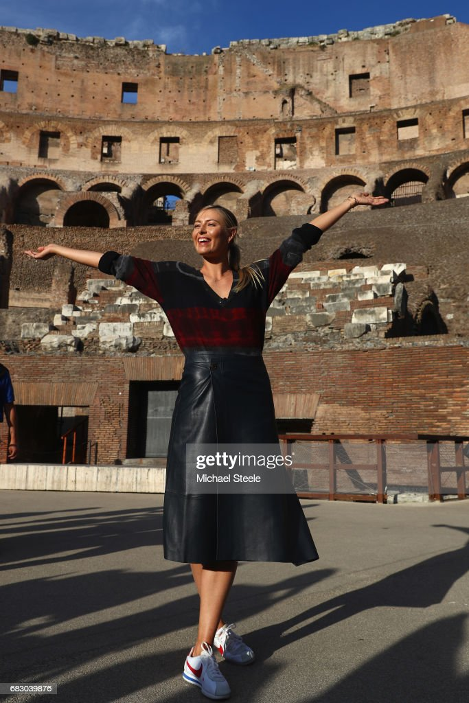 Maria Sharapova of Russia strikes a pose inside the Rome Colosseum on Day Two of The Internazionali BNL d'Italia 2017 at the Foro Italico on May 14, 2017 in Rome, Italy.