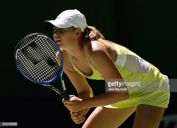 Maria Sharapova of Russia waits for a serve against Silvia Farina Elia of Italy during day seven of the Australian Open Grand Slam at Melbourne Park...