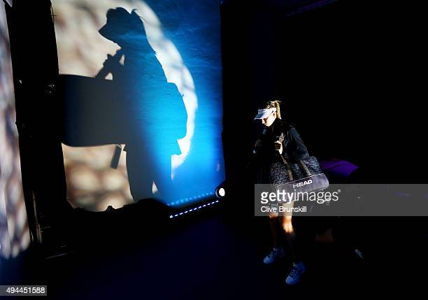 Maria Sharapova of Russia waits to enter the court prior to her round robin match against Simona Halep of Romania during the BNP Paribas WTA Finals...