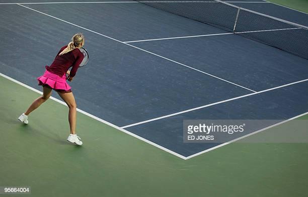 Maria Sharapova of Russia waits to recieve a shot from Caroline Wozniacki of Poland during the women's singles final at the Hong Kong Tennis Classic...