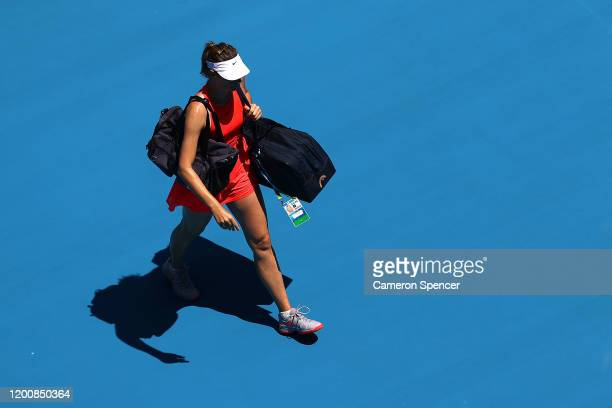 Maria Sharapova of Russia walks off the court after losing her Women's Singles first round match against Donna Vekic of Croatia on day two of the...