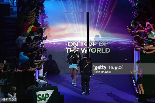 Maria Sharapova of Russia walks out on the court prior to her round robin match againt Agnieszka Radwanska during the BNP Paribas WTA Finals at...