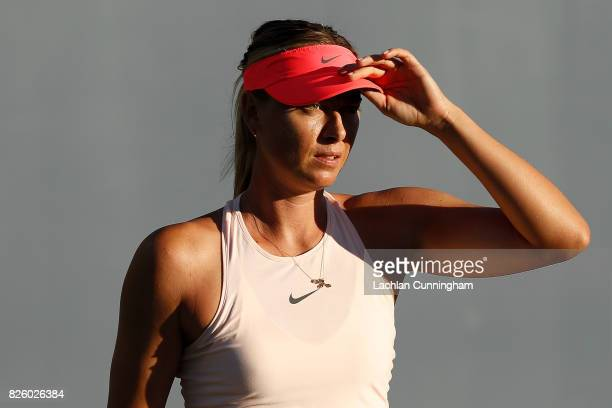 Maria Sharapova of Russia warms up before her match against Jennifer Brady of the United States during day 1 of the Bank of the West Classic at...