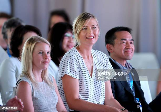 Maria Sharapova of Russia watches in the audience before making a key note speech during the ANA Inspiring Women in Sports Conference as a preview...