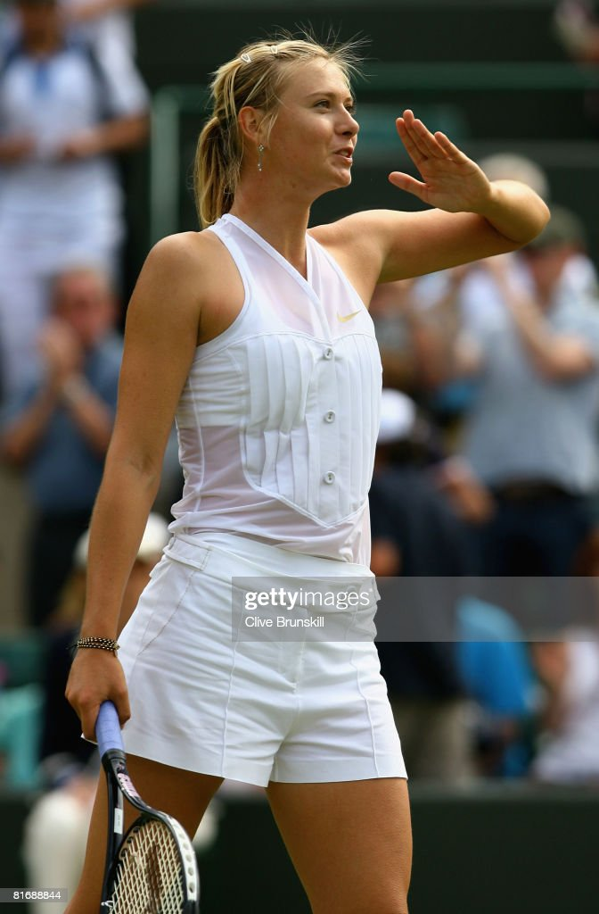 Maria Sharapova of Russian Federation celebrates winning the women's singles round one match against Stephanie Foretz of France on day two of the Wimbledon Lawn Tennis Championships at the All England Lawn Tennis and Croquet Club on June 24, 2008 in London, England.