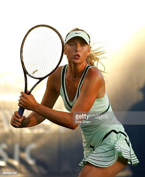 Maria Sharapova of the USA runs to get the ball during her match against Venus Williams of the USA in the quarterfinals on Day 5 of the Bank of the...