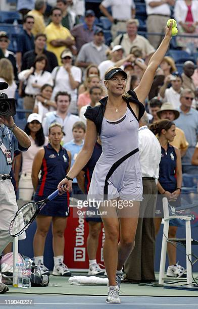 Maria Sharapova reacts after winning her semifinal match against Amelie Mauresmo at the 2006 US Open at the USTA Billie Jean King National Tennis...