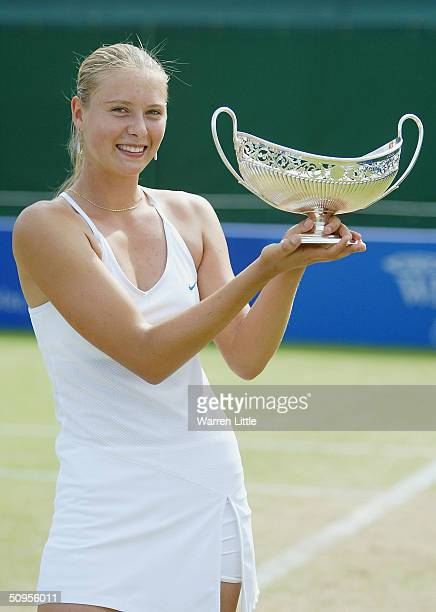 Maria Sharapova Russia poses with the trophy after beating Tatiana Golovin of France to win the DFS Classic Womens International Tennis on June 13...