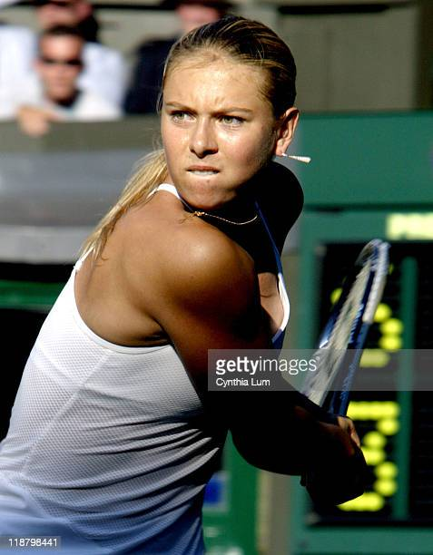 Maria Sharapova shouts her delight after defeating Daniela Hantuchova 63 61 in her second round match at the Wimbledon Championships