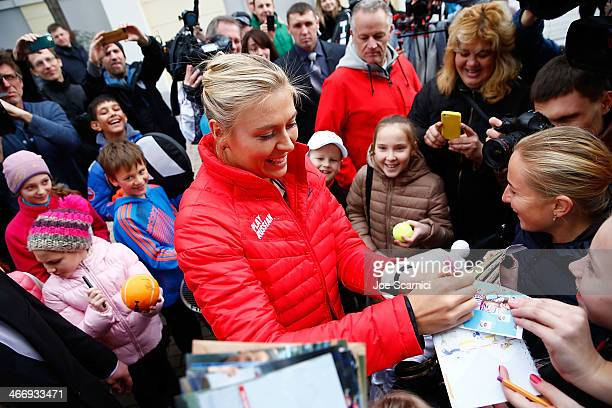 Maria Sharapova signs autographs for fans as she joins Nike in reopening her newly refurbished hometown tennis court at Riviera Park Egorova on...