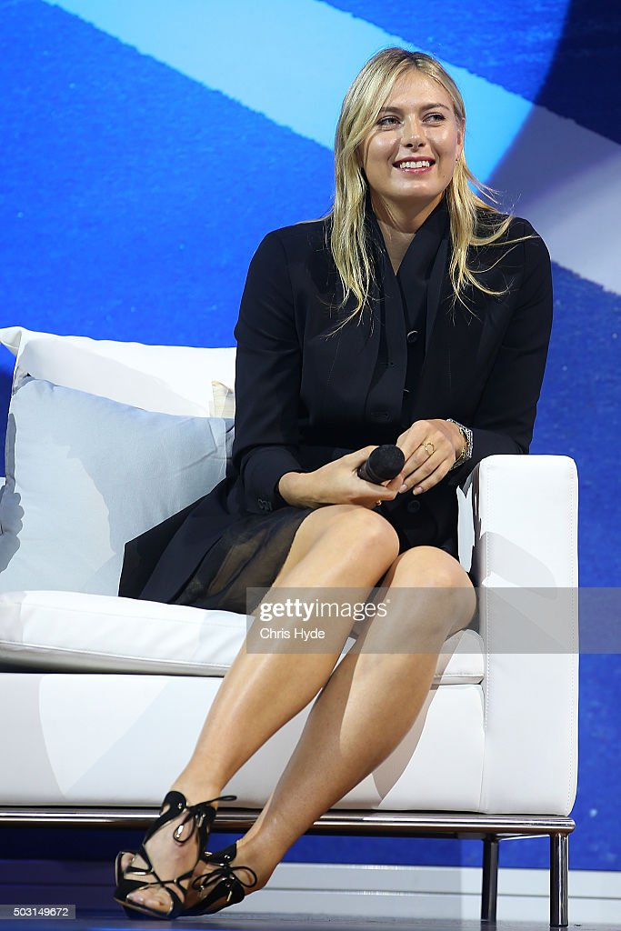 Maria Sharapova talks onstage during the Summer Nights player party at Brisbane City Hall ahead of the 2016 Brisbane International on January 2, 2016 in Brisbane, Australia.