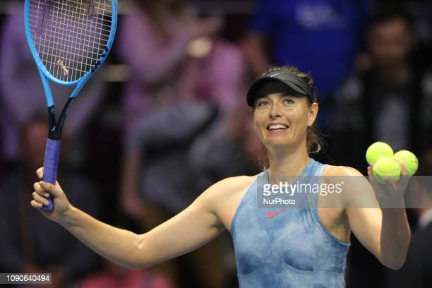 Maria Sharapova thanks supporters during the St Petersburg Ladies Trophy2019 tennis tournament match in StPetersburg Russia