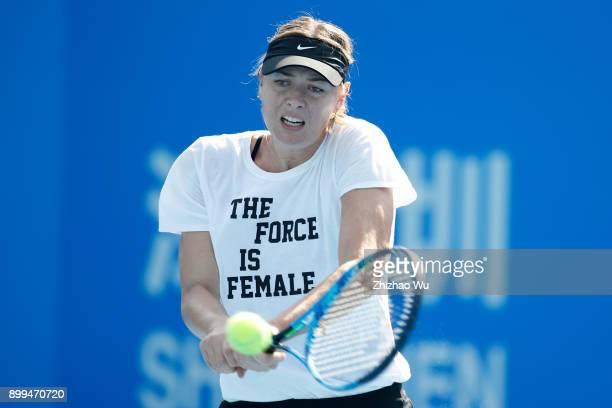Maria Sharapova training at Longgang International Tennis Center on December 29 2017 in Shenzhen China