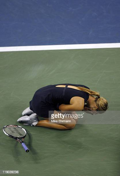 Maria Sharapova wins the womens final against Justine HeninHardenne at the 2006 US Open at the USTA National Tennis Center in Flushing Queens NY on...