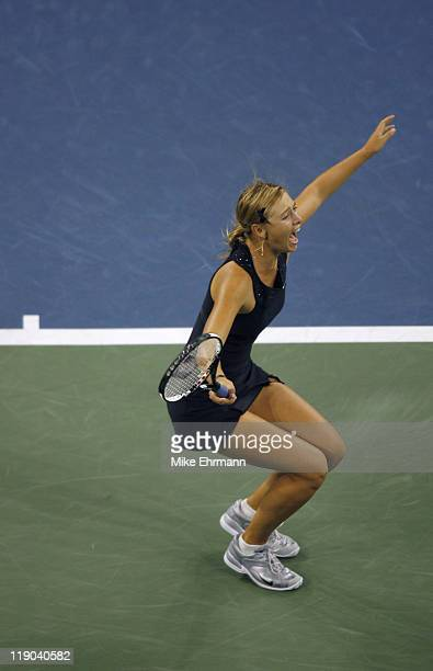 Maria Sharapova wins the womens final against Justine Henin-Hardenne at the 2006 US Open at the USTA National Tennis Center in Flushing Queens, NY on...