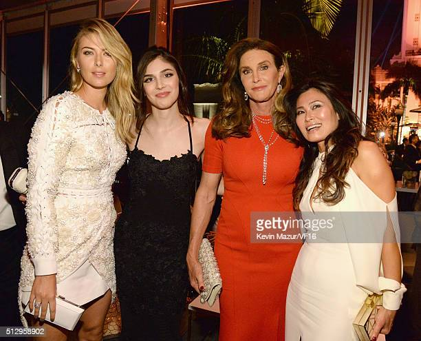 Maria Sharipova and Caitlyn Jenner attend the 2016 Vanity Fair Oscar Party Hosted By Graydon Carter at the Wallis Annenberg Center for the Performing...
