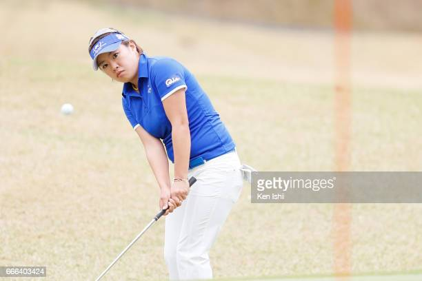 Maria Shinohara hits an approach shot on the 9th hole during the final round of the Hanasaka Ladies Yanmar Golf Tournament at the Biwako Country Club...