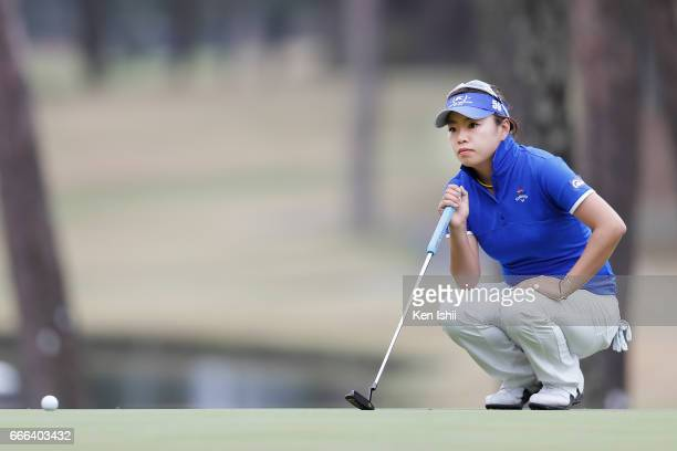 Maria Shinohara lines up a patt on the 18th green during the final round of the Hanasaka Ladies Yanmar Golf Tournament at the Biwako Country Club on...