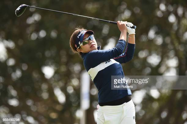 Maria Shinohara of Japan hits her tee shot on the 10th hole during the final round of the TPoint Ladies Golf Tournament at the Ibaraki Kokusai Golf...