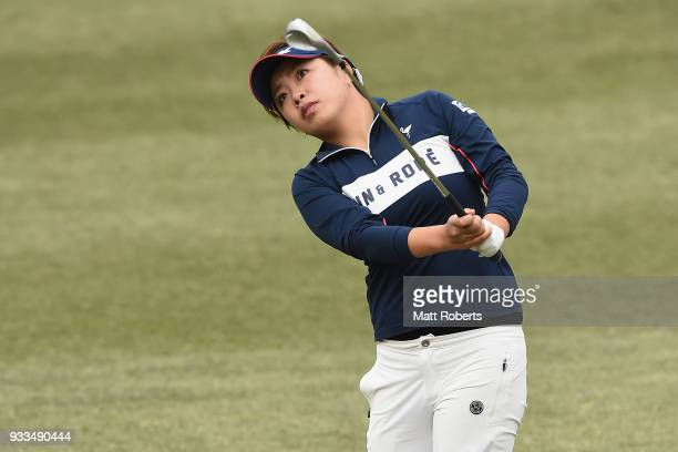 Maria Shinohara of Japan plays her approach shot on the 1st hole during the final round of the TPoint Ladies Golf Tournament at the Ibaraki Kokusai...