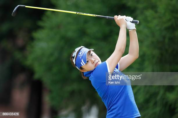 Maria Shinohara plays her tee shot on the second hole during the final round of the Hanasaka Ladies Yanmar Golf Tournament at the Biwako Country Club...