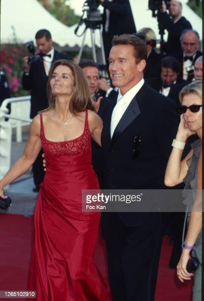 Maria Shriver and Arnold Schwarzenegger attend the 56th Cannes Film Festival in May 2003 in Cannes, France.