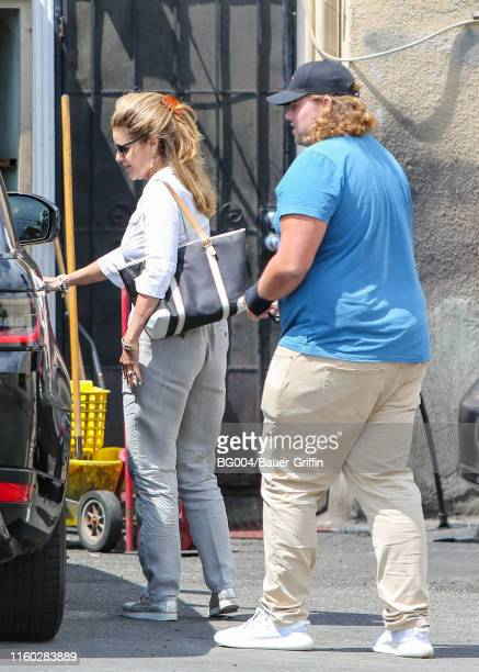 Maria Shriver and her son, Christopher Schwarzenegger are seen on August 07, 2019 in Los Angeles, California.
