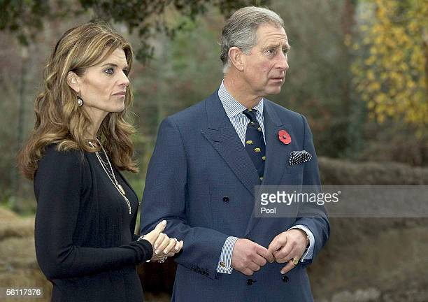 Maria Shriver and Prince Charles, Prince of Wales tour an edible school yard at Martin Luther King, Jr. Middle School on November 7, 2005 in...