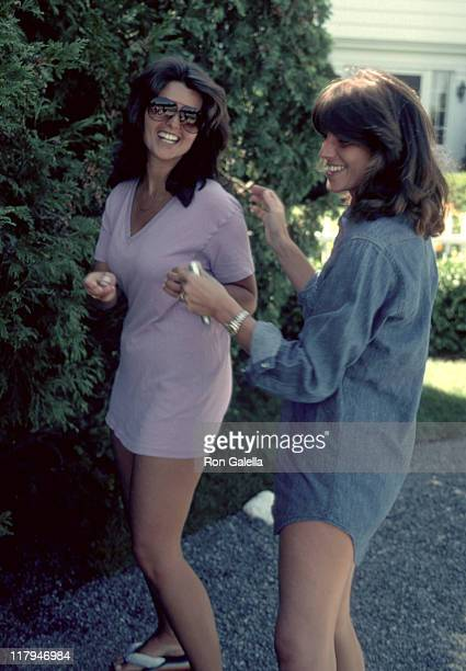 Maria Shriver and Susan Saint James during RFK ProCelebrity Tennis Tounament August 1981 at Kennedy Compound in New York City New York United States