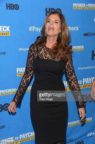 """Maria Shriver attends the """"Paycheck To Paycheck: The Life And Times Of Katrina Gilbert"""" premiere at HBO Theater on March 13, 2014 in New York City."""