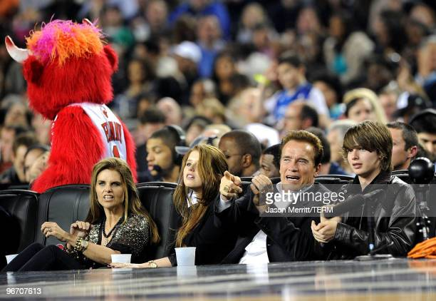 Maria Shriver Christina Schwarzenegger Governor of California Arnold Schwarzenegger and Patrick Schwarzenegger in the audience during the NBA AllStar...
