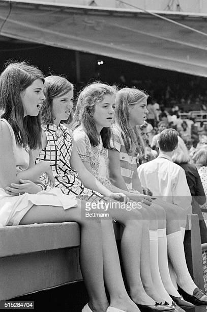 Maria Shriver Courtney Kennedy Caroline Kennedy and Sydney Lawford at the dedication ceremonies at Robert F Kennedy Memorial Stadium