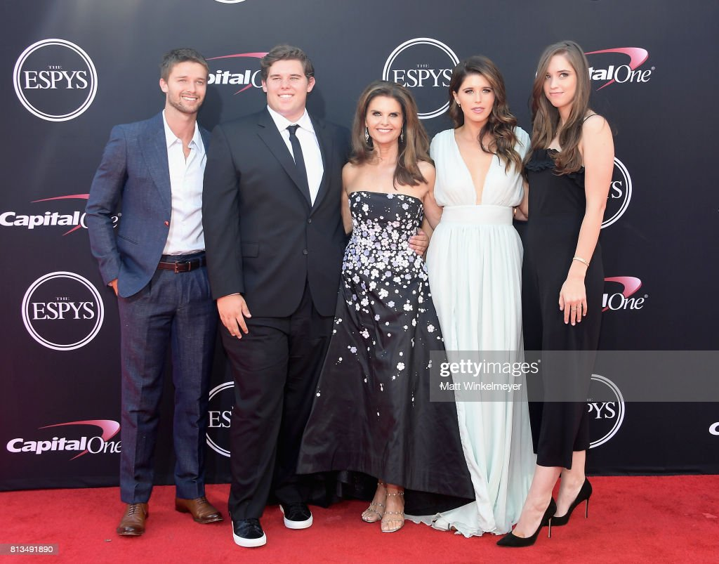 Maria Shriver (C) with (L-R) Patrick Schwarzenegger, Christopher Schwarzenegger, Katherine Schwarzenegger, and Christina Schwarzenegger attend The 2017 ESPYS at Microsoft Theater on July 12, 2017 in Los Angeles, California.