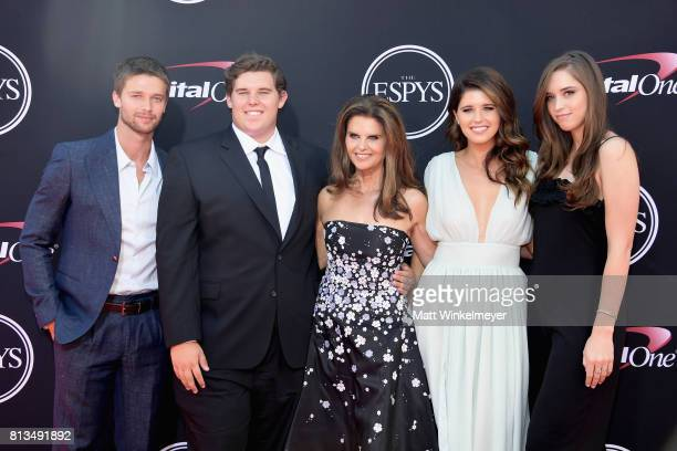 Maria Shriver with Patrick Schwarzenegger Christopher Schwarzenegger Katherine Schwarzenegger and Christina Schwarzenegger attend The 2017 ESPYS at...