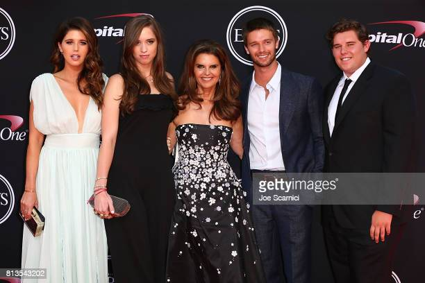 Maria Shriver with Patrick Schwarzenegger Christopher Schwarzenegger Katherine Schwarzenegger and Christina Schwarzenegger arrive at the 2017 ESPYS...