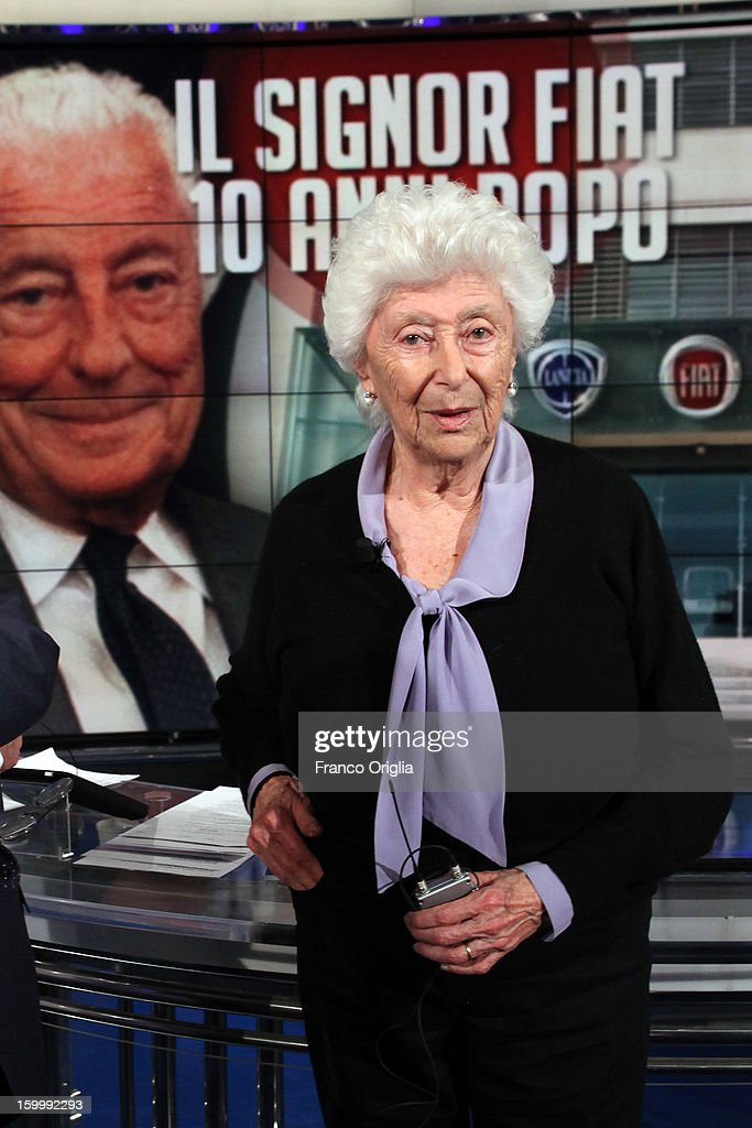 Maria Sole Agnelli attends 'Porta A Porta' Italian TV Show while a portrait of her brother Giovanni Agnelli is displayed in the background on January 24, 2013 in Rome, Italy. Today President of Italian Republic Giorgio Napolitano remembered after 10 years the death of Gianni Agnelli - President and principal shareholder of Fiat Group at the Cathedral of Torino.