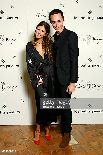 Maria Sole Cecchi and Daniele Cavalli attend the Les Petits Joueurs Dinner at Galleria Uffizi on September 20 2016 in Florence Italy