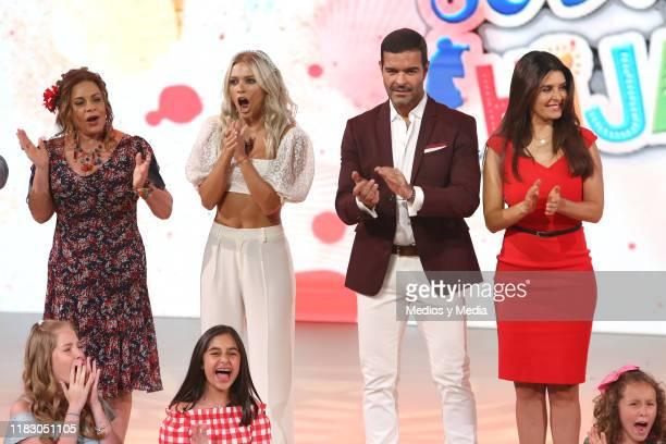 Maria Sorté Irina Baeva Pablo Montero and Mayrín Villanueva on stage during 'Soltero con hijos' Presentation at Televisa San Angel on October 23 2019...