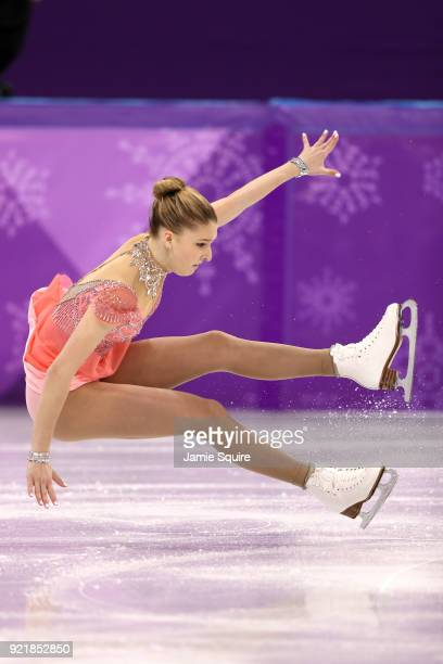 Maria Sotskova of Olympic Athlete from Russia falls while competing during the Ladies Single Skating Short Program on day twelve of the PyeongChang...