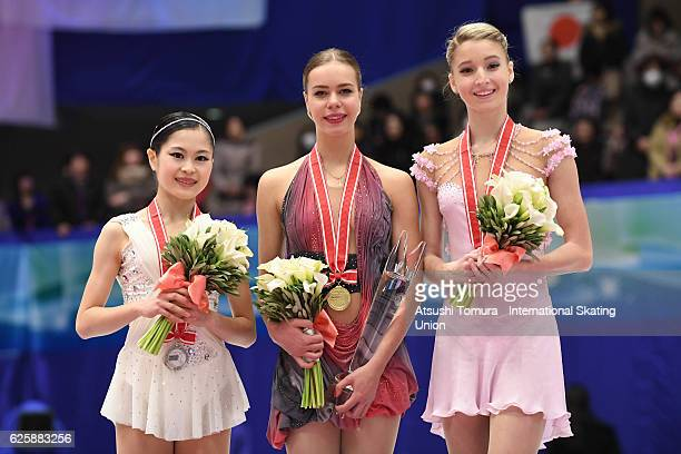 Maria Sotskova of Russia Anna Pogorilaya of Russia and Maria Sotskova of Russia pose on the podium during the ISU Grand Prix of Figure Skating NHK...