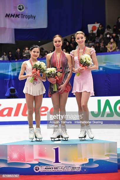 Maria Sotskova of Russia Anna Pogorilaya of Russia and Maria Sotskova of Russia pose on the podium during the ISU Grand Prix of Figure Skating NHK...