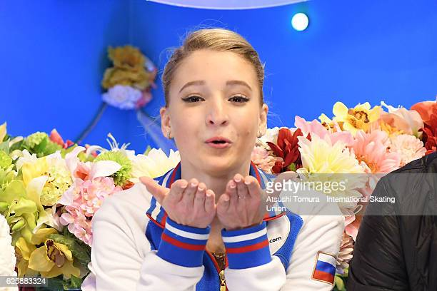 Maria Sotskova of Russia blows a kiss to the cameras after skating in the Ladies free skating during the ISU Grand Prix of Figure Skating NHK Trophy...