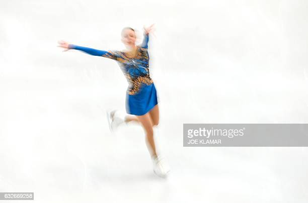 TOPSHOT Maria Sotskova of Russia competes during the ladies short program of the European Figure Skating Championship in Ostrava on January 252017 /...