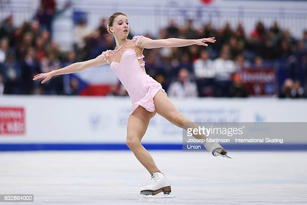 Maria Sotskova of Russia competes in the Ladies Free Skating during day 3 of the European Figure Skating Championships at Ostravar Arena on January...