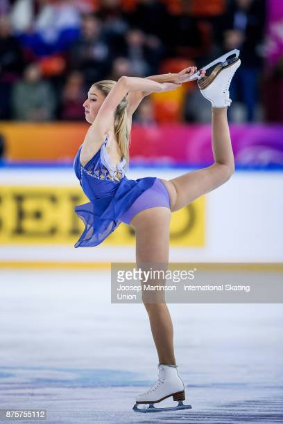 Maria Sotskova of Russia competes in the Ladies Free Skating during day two of the ISU Grand Prix of Figure Skating at Polesud Ice Skating Rink on...