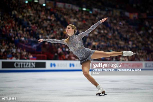 Maria Sotskova of Russia competes in the Ladies Free Skating during day three of the World Figure Skating Championships at Mediolanum Forum on March...
