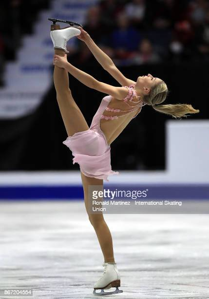 Maria Sotskova of Russia performs in the Ladie's short program during the ISU Grand Prix of Figure Skating at Brandt Centre on October 27 2017 in...